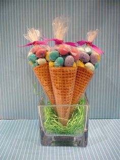 Peanut m&m in sugar cone, then tied up with cellophane and a ribbon!