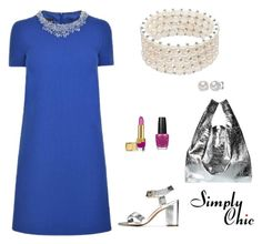 """""""Royal Blue Vibes"""" by simply-chic-romania on Polyvore featuring Boutique Moschino, MM6 Maison Margiela, OPI, Estée Lauder and Cole Haan"""