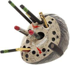 Friday the Ceramic Pencil Holder Hockey Mask Jason Voorhees Pens Head Face Pencil Holder, Pen Holders, Pens And Pencils, Jason Voorhees, Friday The 13th, The Shining, Desk Accessories, Sculpting, Geek Stuff