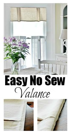 Create a no sew valance! Staple the top and made the pleats by just folding over the fabric and stapling! thistlewoodfarms.com