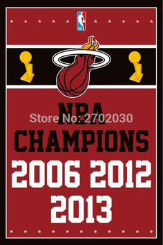 Miami Heat Basketball Team 90*150cm Flag Banners Home Decoration 100D Polyester 3*5ft with Metal Gromets Sleeve