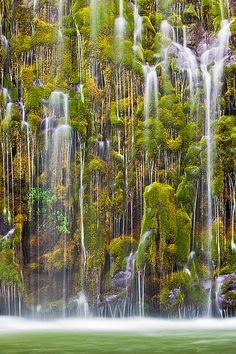 Mossbrae Falls - a waterfall flowing into the Sacramento River, in the Shasta Cascade area in Dunsmuir, California, USA