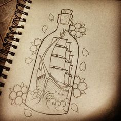 not the bottle or flowers Cool Art Drawings, Tattoo Drawings, Art Sketches, Ship In Bottle Tattoo, Maritime Tattoo, Bottle Drawing, Instalation Art, Sea Tattoo, Ship Drawing