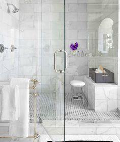 48 Wonderful Marble Bathroom Designs : 48 Luxurious Marble Bathroom Designs With Glass Shower White Bathroom Wall Chair Towel Flower Decor And Carpet And Ceramic Floor Marble Tile Bathroom, White Marble Bathrooms, Marble Showers, Marble Tiles, Glass Showers, Marble Floor, Subway Tiles, Tiled Showers, Waterworks Bathroom