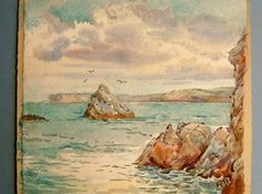 Vintage Edwardian 1920s Seascape Watercolor Nautical Painting by QueensParkVintage, $55.00