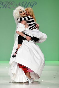 Sharon Needles and Betsey Johnson walk the runway at the Betsey Johnson fashion show Spring 2015