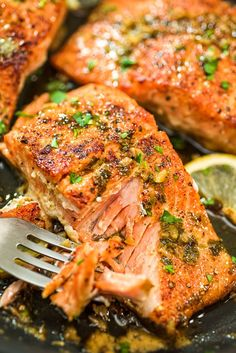 Cajun Salmon - This pan-seared, Cajun-seasoned salmon (using wild-caught salmon) covered w/garlic-butter sauce is simple, elegant, & delicious. It is an ultra-easy & flavorful dinner to make during your busy weeknights, ready in less than 30 minutes! Salmon Recipe Videos, Salmon Patties Recipe, Salmon Recipes, Fish Recipes, Seafood Recipes, Pasta Recipes, Chicken Recipes, Cooking Recipes, Top Recipes