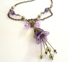josanne mcafee | Lucite flower necklace purple chain layered by ArtfulTrinkets1, $52.00