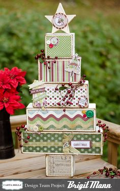 "Brigit's Scraps ""Where Scraps Become Treasures"": Carta Bella Wooden Christmas Tree"