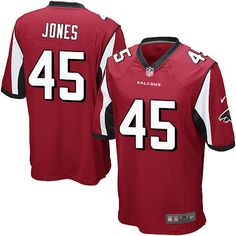 Men's Game Deion Jones Red Jersey: Home #45 NFL Atlanta Falcons Nike