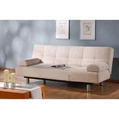 Atherton Home Manhattan Convertible Futon Sofa Bed and Lounger, Pearl