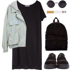 black 90s grunge outfit (minus the cigarette) :D
