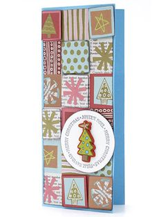 Patterned paper in a patchwork design fills the front of this long holiday card. Melissa cut individual blocks from a scrap piece and mounted them on the card front with adhesive foam to create a dimensional look.    Editor's Tip: Stamping is a great way to add a holiday sentiment to a card you want to make in multiples. Look for designs in fun shapes and fonts for added oomph.