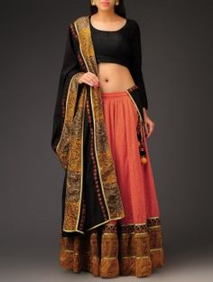 Coral-Black Swiss-Dot Mehndi Motif Half-Saree Set