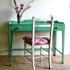 This is a refurbished desk painted with Farrow & Ball Arsenic #214.  I am in love with this color.  Need to find something to paint...