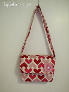 Valentine's Day Messenger Bag Little Girl Purse Pink Red and Light Pink Hearts