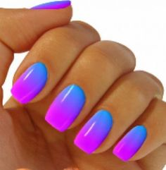 Glowing vibrant blue to purple gradient nail art. nails manicure nailart Love the colors summer fresh recipes ; Blue Ombre Nails, Gradient Nails, Neon Nails, Purple Ombre, Ombre Color, Purple Art, Pastel Purple, Pink Purple, Bright Purple
