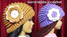 Gorro tejido a crochet con Flor paso a paso con puntos Relieve TODAS LAS...