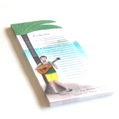 Illustrated To Do List magnet note pad of a Bossa Nova guitar player, great as a music lovers gift for teachers to hang on the fridge by liatib on Etsy