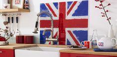 Union Jack kitchen splashback.    Products used in this image: Kula Union Jack Red & Blue Splashback (60x70cm)