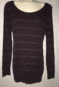 Gap Womens Sz L Long Sleeve Knit Top or Thin Sweater Deep Purple Solid Stripe | eBay