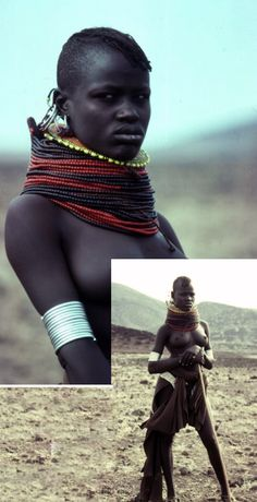 Africa | Turkana Woman. The Turkana are a Nilotic people native to the Turkana District in northwest Kenya, a semi-arid climate region bordering Lake Turkana |ΠΦ