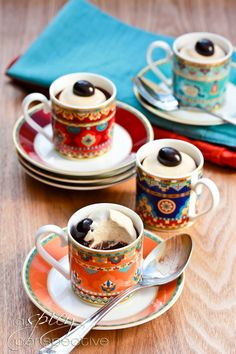 Chocolate espresso Pots de Creme with Espresso Creme on top! #Christmas #holiday #chocolate