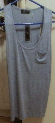 "TANK  TOP ""CYRUS""  Heather Blue Color Front Top Pocket Soft New WOMEN LG.  #CYRUS #TankCami #ALLOCCAISON"