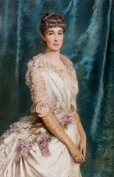 1885 Marie-Marthe des Monstiers-Mérinville, née von Oesterreich, au bouquet de fleurs by Konstantin Makovsky (auctioned by Delorme Collin du Bocage, Paris)