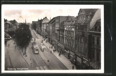 old-AK-Duisburg-Konigstrasse-with-Strasenbahn and bus 1942