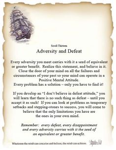 Book of Shadows:  #BOS Principles of Success Scroll 13 Adversity and Defeat Page.