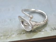 CALLA LILY handmade sterling silver flower ring by plasticouture, $56.50