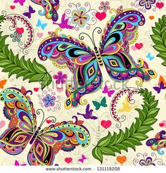 Seamless valentine pattern with colorful vintage butterflies and flowers and hearts (vector)