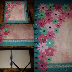 Beautiful turquoise  spiral bound scrapbook photo album, memory book. Hand decorated with turquoise and pink paper flowers, white lace, sparkly butterfly,  and gems. Album has 20 sheets - 40 blank, white pages. It measuers 8 x 8 inches (approximately 15 x 15 cm). You can choose your own title. Example in the last photo. Perfect gift for wedding, anniversary, birthday or Valentine's day . Fountain pen not included.