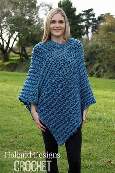 A gorgeous crocheted poncho is the perfect alternative to a jacket or sweater on a chilly day. It is beautifully warm, but also light weight due to the lovely ribbed texture and slightly openwork fabric.