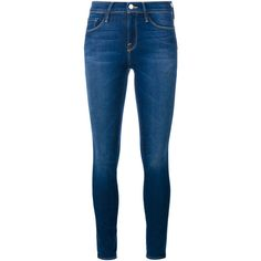 FRAME DENIM Le Skinny de Jeanne Ultra Skinny Jeans ($290) ❤ liked on Polyvore featuring jeans, pants, bottoms, calças, frame denim, super skinny jeans, mid rise straight leg jeans, skinny fit jeans, straight-leg jeans and cut skinny jeans