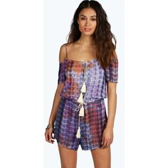 Boohoo Boutique Mya Cold Shoulder Tie Dye Tassel Playsuit ($20) ❤ liked on Polyvore featuring jumpsuits, rompers, tie dye romper, jumpsuits and rompers, romper and tie-dye rompers