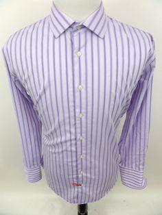 NORDSTROM Men's Dress Shirt Non-Iron Trim Fit sz 17 1/2 34/35 French Cuffs #Nordstrom #ButtonFront