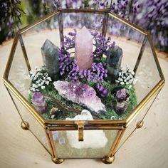Look at this pretty crystal garden featuring Amethyst, Crystal Quartz, Rose Quartz and Labradorite :) Crystaljypsyjewelry.etsy.com