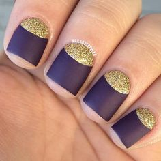 Purple and Gold Half-Moon Nail Design for Short Nails