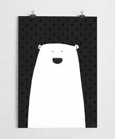 Stylish black and white poster of a polar bear, really cute in a nursery or anywhere in the home! Check out the matching White bunny art print here: