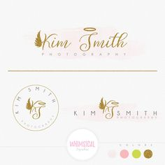 Lovely Angle - Feminine Logo Watercolor Design Branding Package Inc. Photography - GOLD GLITTER initials letters script cute Watercolor Logo