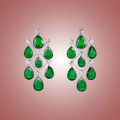Eclat Jewels: Emerald and diamond chandelier earrings