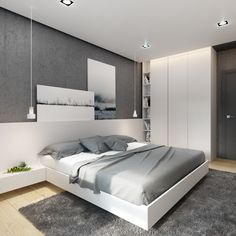 50 recommended small bedroom ideas to get a spacious look to inspiring you 4 50 recommended small bedroom ideas to get a spacious look to inspiring you 4 Luxury Bedroom Design, Home Room Design, Master Bedroom Design, Modern Luxury Bedroom, Modern Bedroom Furniture, Furniture Sets, Furniture Design, One Bedroom Apartment, Apartment Interior