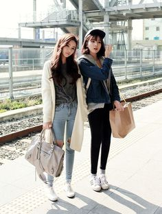 follow me @cushite asian kfashion asian modes skinny jeans korean fashion south korea south korean fashion posh chic|| cardigan!