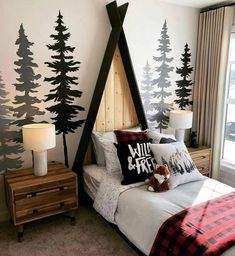 Bedroom Themes, Kids Bedroom, Bedroom Decor, Bedroom Ideas, Boys Bedroom Furniture, Woodland Bedroom, Woodsy Bedroom, Winter Bedroom, Woodsy Nursery