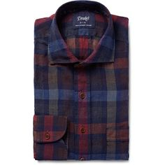 Drake's Checked Linen Shirt (7.160 CZK) via Polyvore featuring men's fashion, men's clothing and men's shirts