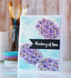 Simon Says Stamp Hydrangea Blooms stamp set. STAMPtember®. Card by Wanda Guess using Prima watercolors!