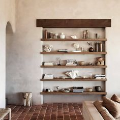 Great vintage rustic built in shelving and decoration wabi sabi modern design, via Minimalist Interior, Minimalist Home, Wabi Sabi, Interior Minimalista, Built In Furniture, Interior Decorating, Interior Design, Zen Decorating, The Design Files