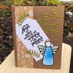 Sweet ink-blended angel highlights tagged message. Love Thoughts, Stork, Homemade Cards, Highlights, Notes, Angel, Messages, Ink, Sweet
